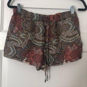 Zara print silk shorts